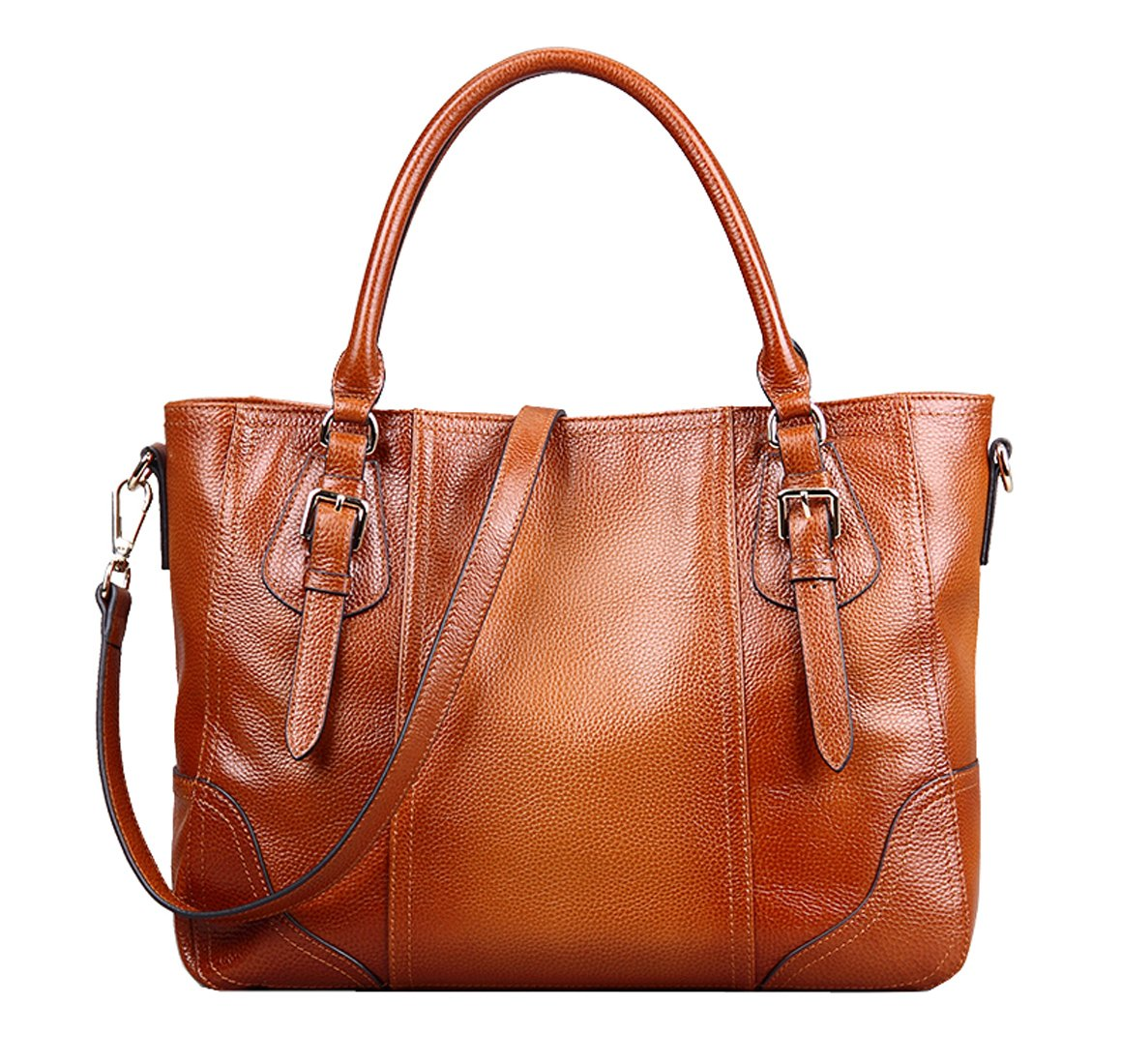 SAIERLONG Women's European And American Style Red brown First Layer Of Leather Top-handle Tote Shoulder Messenger Bag Cross Body Purse Vintage Handbag