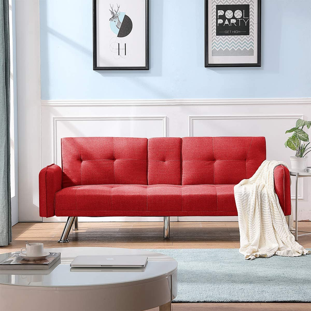 Depointer Sleeper Couch Convertible Feature Modern Futon Beds Lounger Sectional Sofa Couch Fully Reclining Chaise,Red