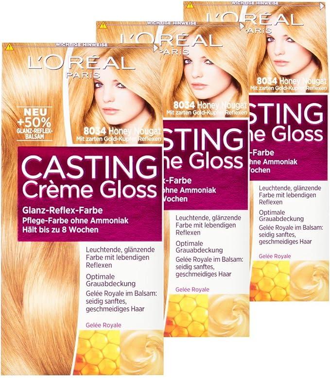 L Oréal Casting Crème Gloss 8034 Honey Nougat, Juego de 3