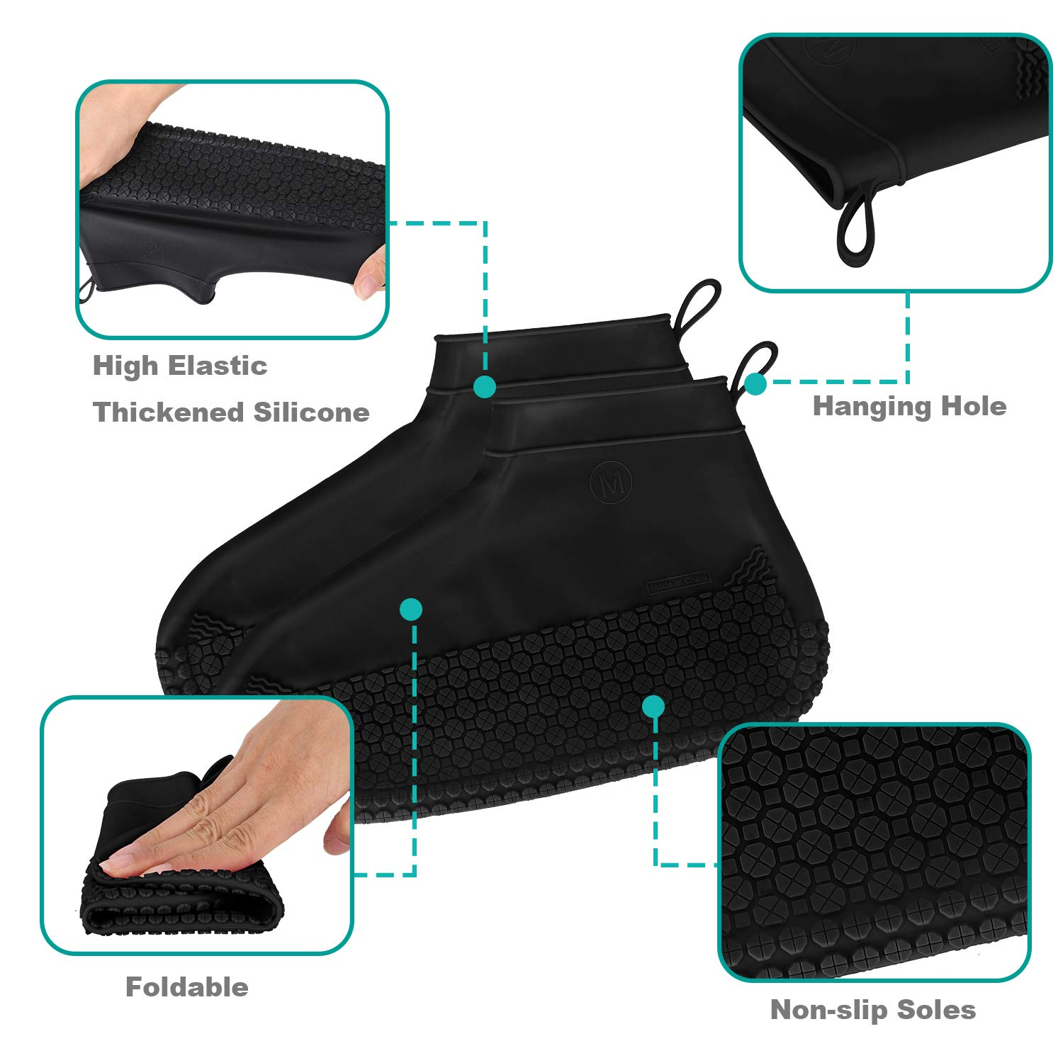 Silicone Overshoes Waterproof Shoe Covers Slip Shoes Covers Reusable /& Washable Shoes Cover Suitable for Rainy and Snowy Days and Reinforced Non
