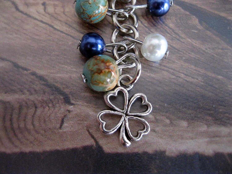 Handmade Perlen Schlüsselanhänger Taschenanhänger Türkis Gold Orange Meliert Dunkel Blau Weiß Mit Kleeblatt Handmade