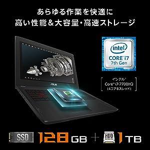 ASUS FX502VM ブラック 15.6型ノートPC【日本正規代理店品】インテル Core i7-7700HQ/8GB/HDD 1TB/ FX502VM-FY324T/A