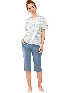 4fec4e11f4 SheIn Women s Cartoon Dog Print Tee   Capri Pants Pajamas Set at ...