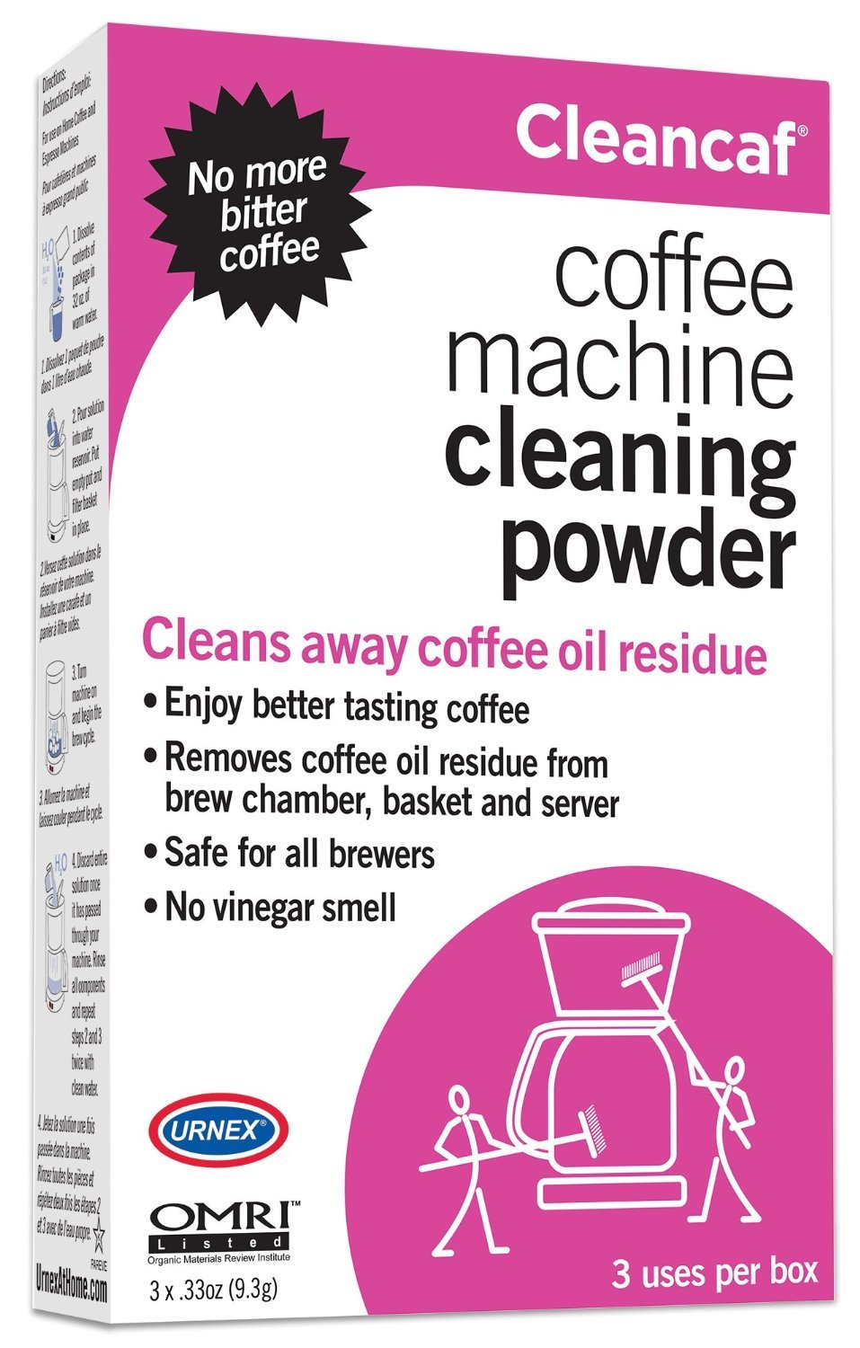 Cleancaf Coffee Maker and Espresso Machine Cleaner and Descaler 3pk Urnex 0021-3