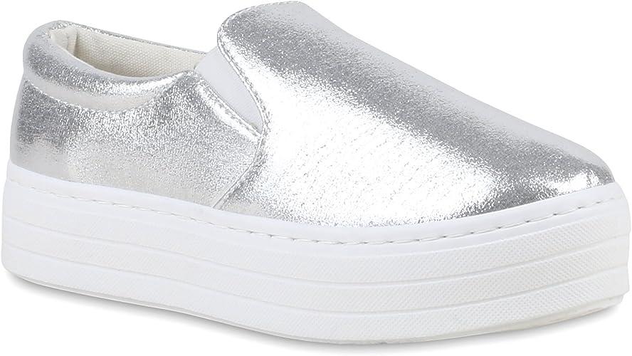Stiefelparadies Damen Glitzer Plateau Slip ons Sneaker