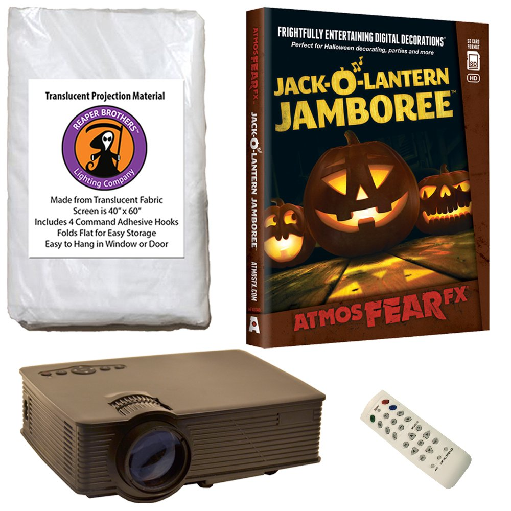 Halloween Digital Decoration Kit includes 1080p HD Resolution Projector, 40'' x 60'' Reaper Brothers High Resolution Window Rear Projection Screen and AtmosFearFX Jack O Lantern Jamboree DVD