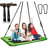 X TOYZ Flying Saucer Tree Swing Play Set 60 Inch Platform Tree Swing with Cushion Pillow, Adjustable Hanging Straps…