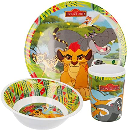 Children Kids Plate Pack Of 2 Lion 2-portion Plastic Plate Yellow Feeding Baby