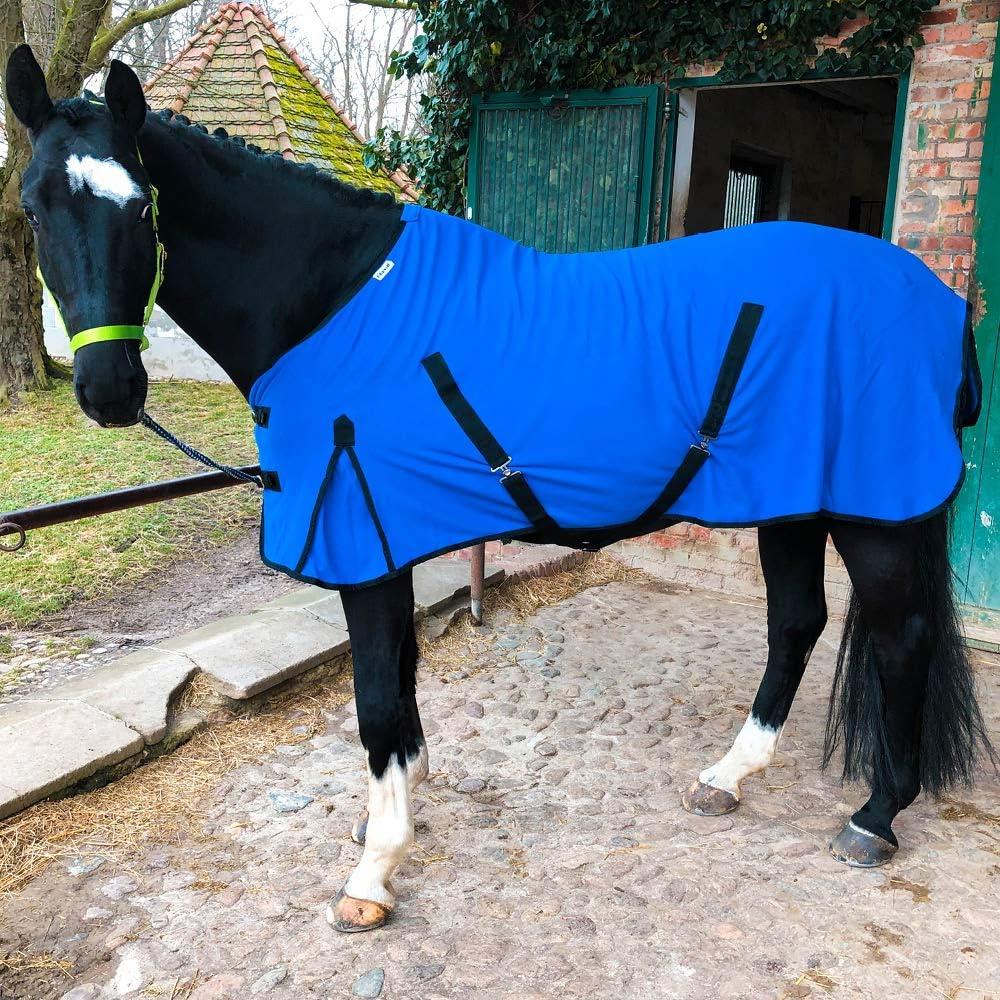 Manta para caballo con correa cruzada para caballos, ponys – Manta para caballos de forro polar transpirable – para secado rápido y calor