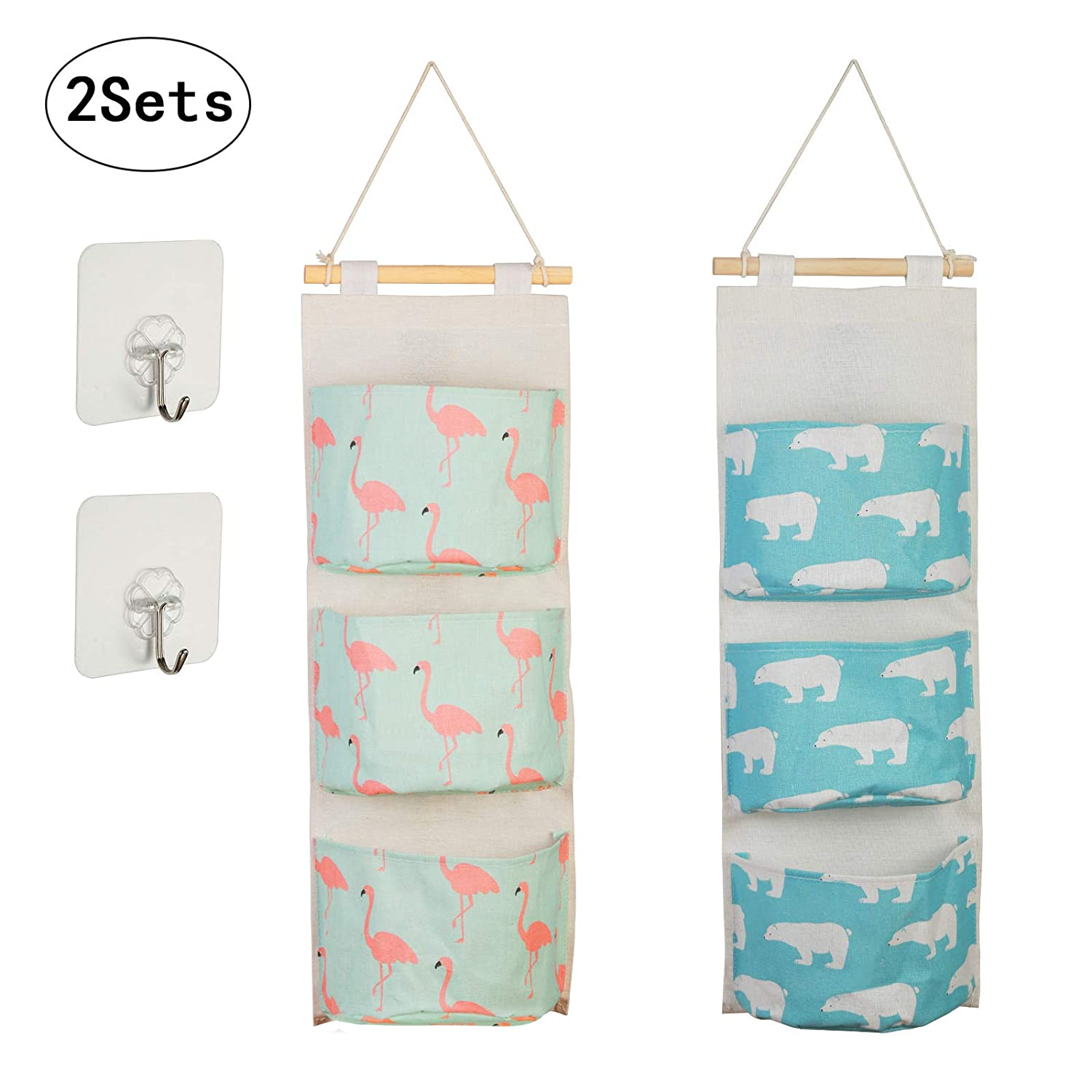KAKOO 2pcs Cartoon Pattern Hanging Storage Bag Waterproof Cotton Closet Wall Door Storage with 3 Pockets and 2 Pcs Self Adhesive Hooks for Kitchen Bedroom Bathroom Office