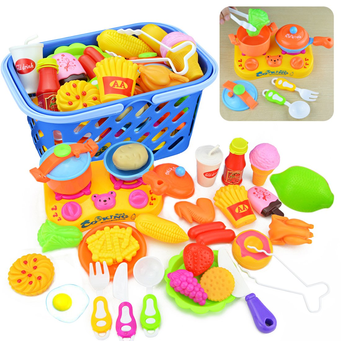Likeluk 30er Set küchenspielzeug kinderküche set Cutting Toy Pretend ...