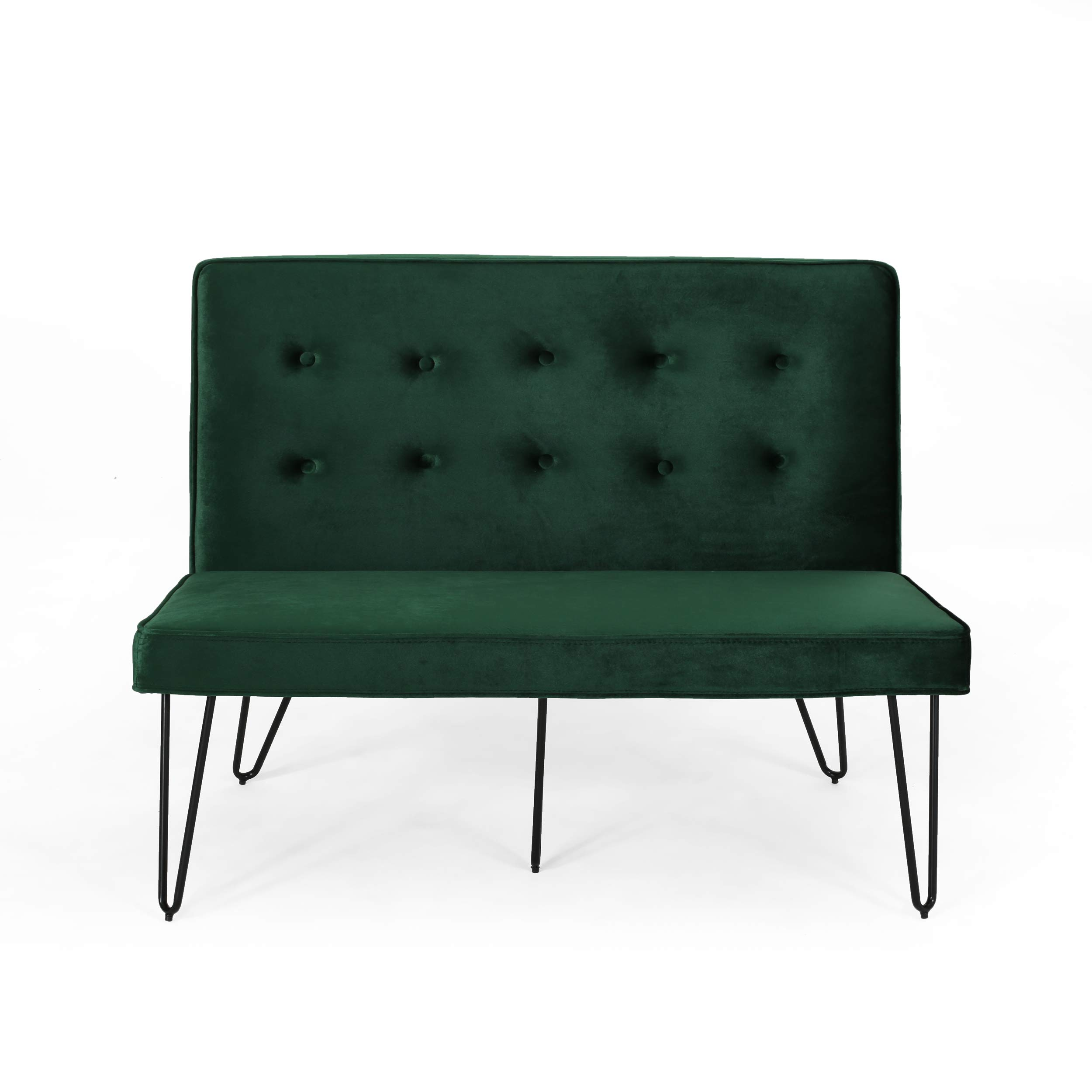 Beatrice Minimalist Dining Bench Settee with Tufted Velvet Cushion and Iron Legs - Emerald and Black