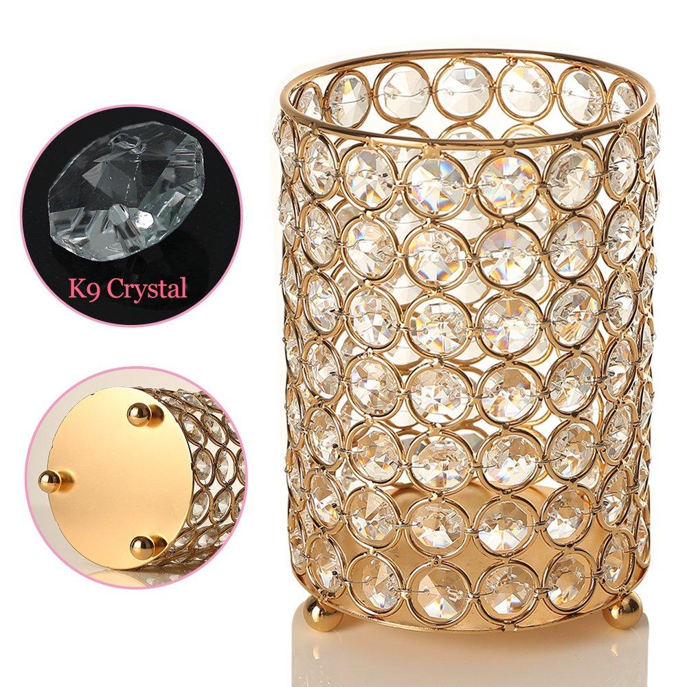 Medium Gold Crystal Bead Cylinder Candleholder