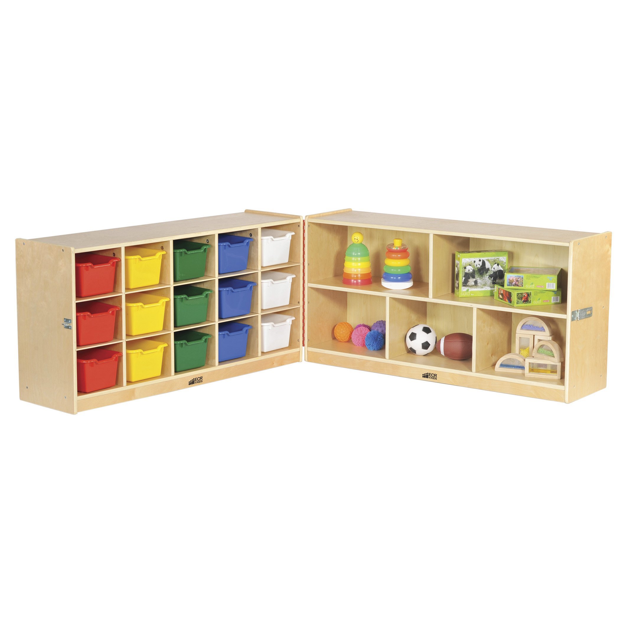 ECR4Kids Birch Fold & Lock Storage Cabinet with Casters, 5 Shelves, 15 Cubbies with Bins, 24'' H, Assorted