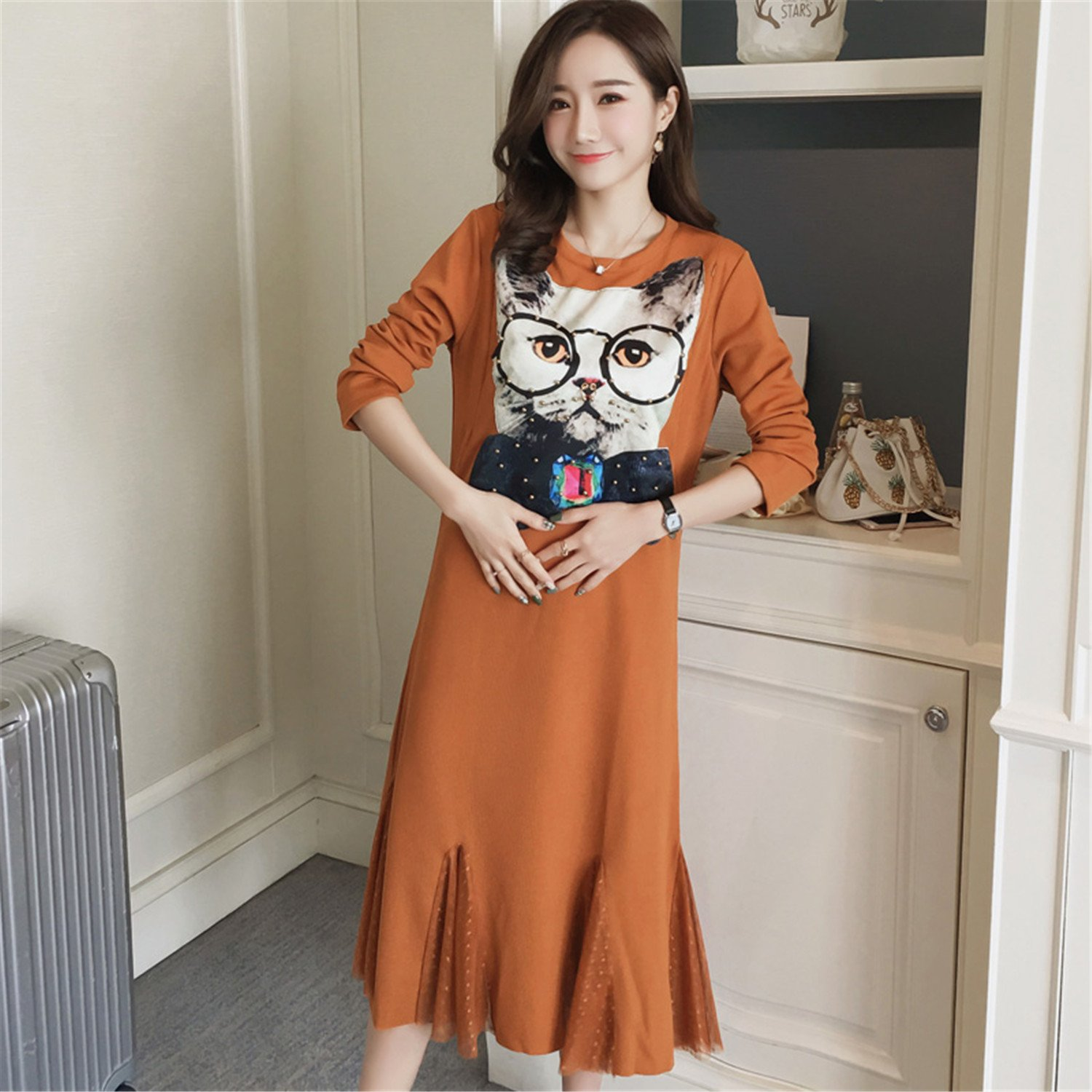 spyman Nice Long Maternity Dress Plus Size Dress Winter ...