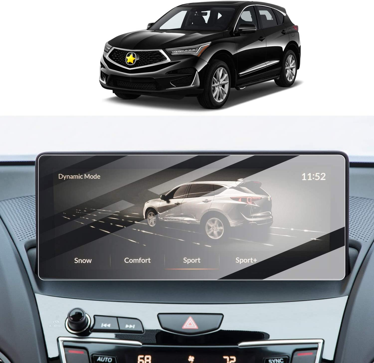 Screen Protector Foils for 2019 2020 Acura RDX 10.2In Navigation Display Anti-Explosion Tempered Glass 9H Hardness Anti Glare /& Scratch HD Clear GPS Screen Protective Films