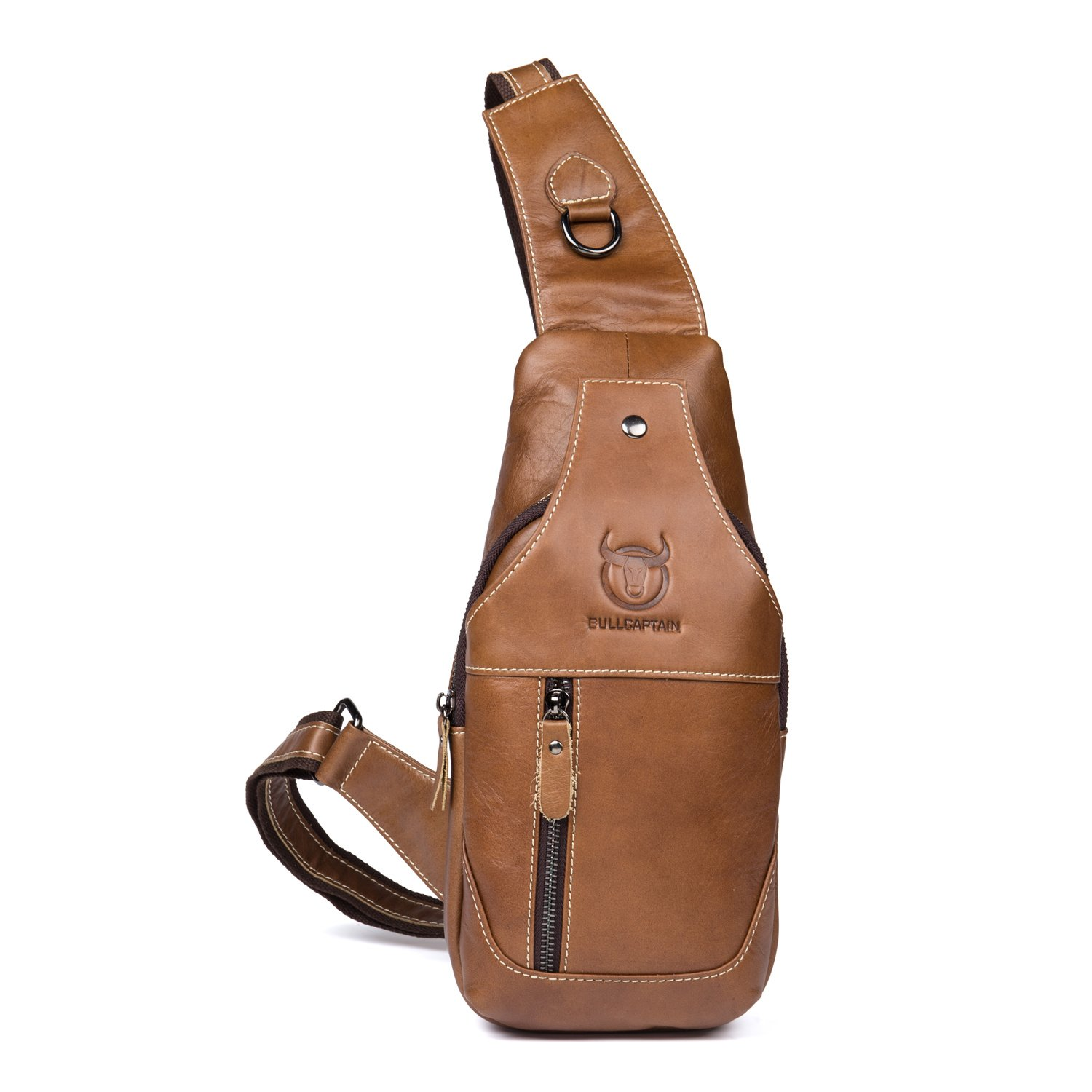Bull Captain Sling Backpack Genuine Leather Chest Shoulder Bags Casual Crossbody Bag Travel Hiking Daypacks 019 (Yellow Brown)