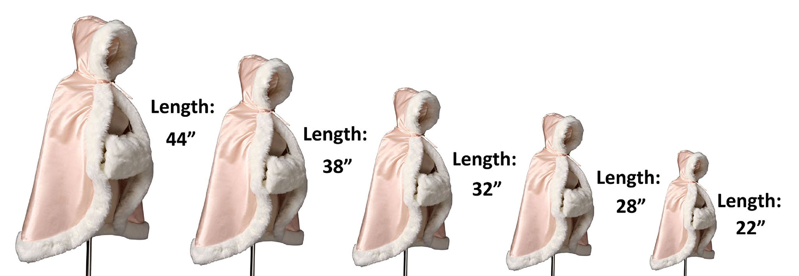 BEAUTELICATE Flower Girl Cape Winter Wedding Cloak for Infant Junior Bridesmaid Hooded Reversible Ivory 44 by BEAUTELICATE (Image #2)