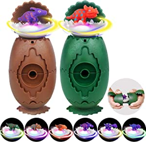 Dinosaur Toys for Boys & Girls Kids, Dinosaur Surprise Eggs with 6 Different Dinosaurs Figures, LED Light Up Flashing Dinosaur Spinning Tops, Perfect Dino Gifts Toys Party Favors, 2 Pack