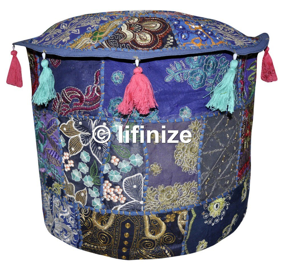 Indian 18x14 Bohemian Patch Work Ottoman Cover,Traditional Vintage Indian Pouf Floor/Foot Stool, Christmas Decorative Chair Cover, Decorative Living Room Foot Stool Bohemian Chair Covers Only Cover, iinfinize