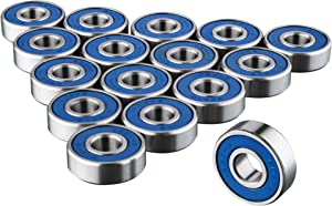TRIXES 16 x 608 RS Skateboard Bearings - Frictionless ABEC 9 Roller Bearings for Skate Boards Scooters Longboards - High Precision Replacements - Sealed - Durable