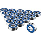 TRIXES 16 x 608 RS Skateboard Bearings - Frictionless ABEC 9 Roller Bearings for Skate Boards Scooters Longboards - High…