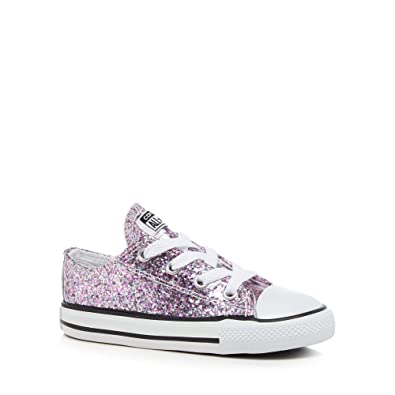 b9cea25e5749 Converse Kids Girls  Pink Glitter  Chuck Taylor  Lace Up Trainers ...