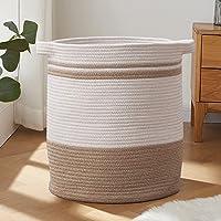 Laundry Basket, Laundry Hamper, Tall Decorative Woven Cotton Rope Basket, Blanket Basket for Living Room, Round Storage…
