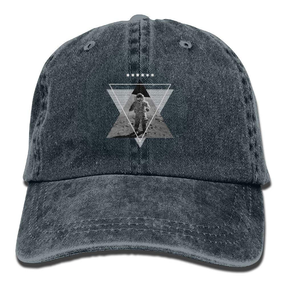 JTRVW Astronaut On The Mn Denim Hat Adjustable Unisex Plain Baseball Hat