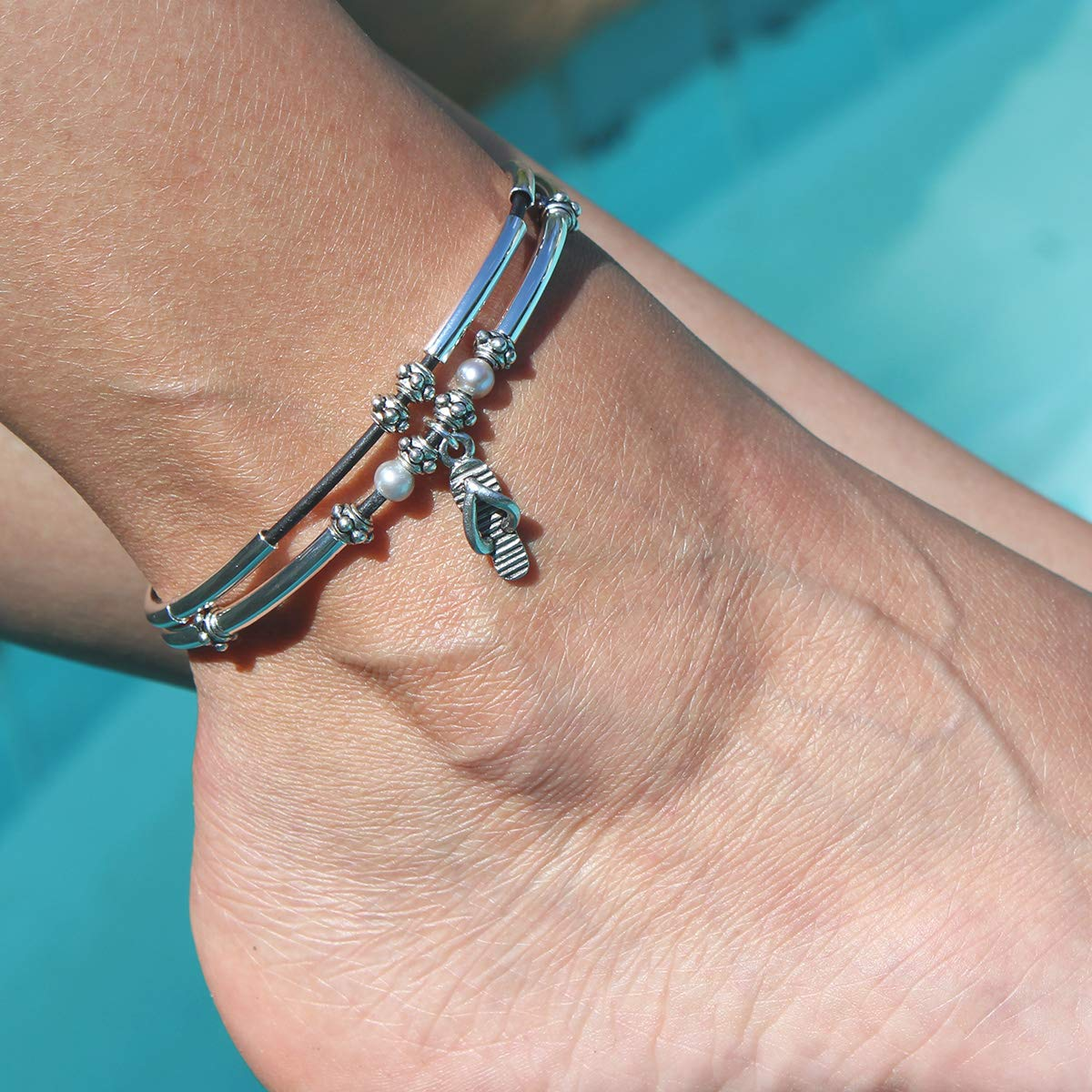 Lizzy James Lucy Anklet w Sandal Charm in Natural Black Leather Silver Plate Crescents Freshwater Pearls