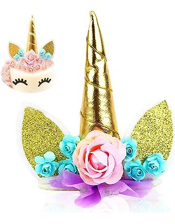 Cake Topper, JER Unicorn Cake Topper Cumpleaños Pastel Decoración,Unicornio Cuerno y Orejas Tartas