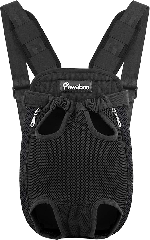 Pawaboo Mochila del Perro - Adjustable Bolsa Delantera Pet Front Cat Dog Carrier Backpack/Piernas Afuera & Fácil de Ajustar para Viajar/Senderismo/Camping, Talla M - Negro