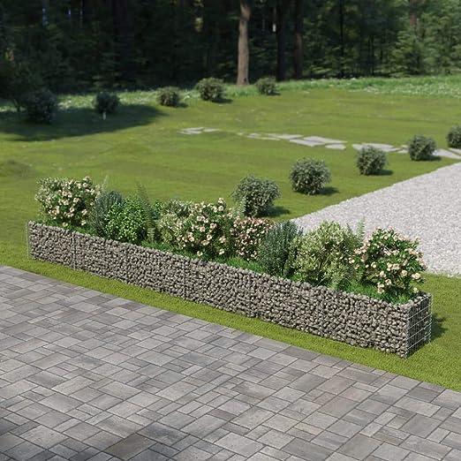 UnfadeMemory Jardinera Exterior,Gaviones de Piedra,Muro de Gaviones,Decorativos para Jardin Patio,Acero Galvanizado,Plateado (540x50x50cm): Amazon.es: Hogar