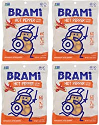 BRAMI Lupini Bean Snack, Hot Pepper | Plant Protein, Vegan, Gluten-Free, Low Calorie, Zero Net Carb, Keto, Lightly Pickled, Mediterranean Legume | 5.3 oz (150g), 4 Count