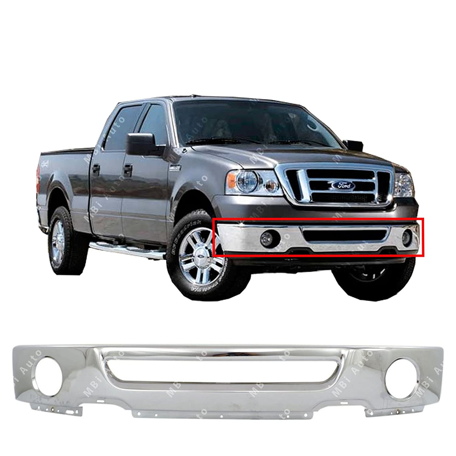 Mbi Auto Chrome Steel Front Bumper Face Bar For 2006 2007 2008 Ford F150 Pickup Wfog Light Holes 06 08 Fo1002399