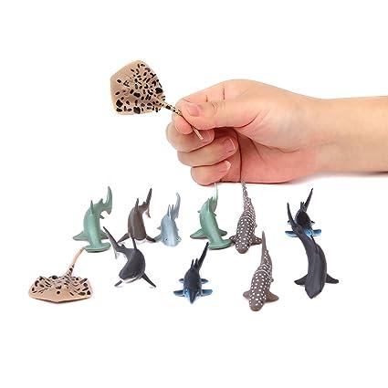 Fun Central AU195 12 Pieces 3 Inch Shark Toys For Boys Plastic Figures