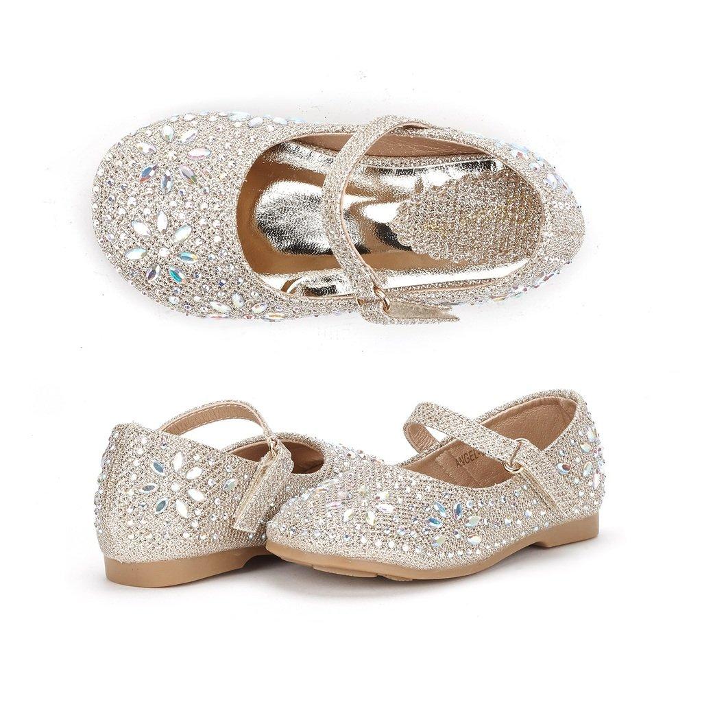 DREAM PAIRS ANGEL-66 Mary Jane Rhinestone Embelishment Throughout Velcro Strap Ballerina Flat (Toddler/Little Girl) New