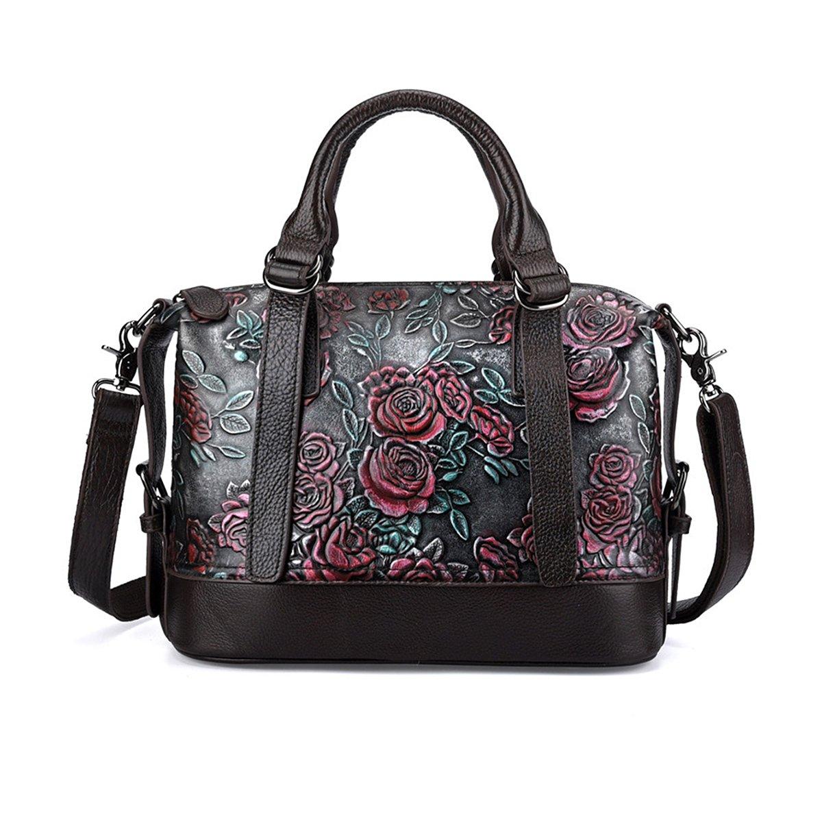 Crossbody Bag for Women Vintage Rose Top Handle Tote Purses Genuine Leather Satchels Handbag (silver)
