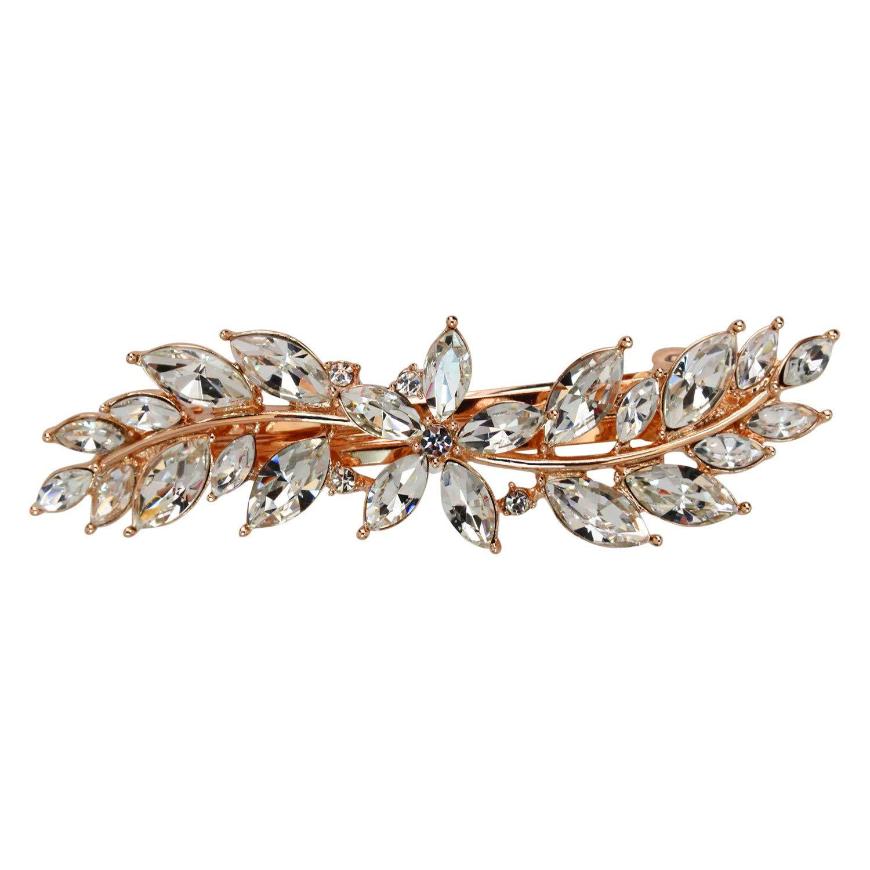 Faship Gorgeous Clear Rhinestone Crystal Small Floral Hair Barrette Clip