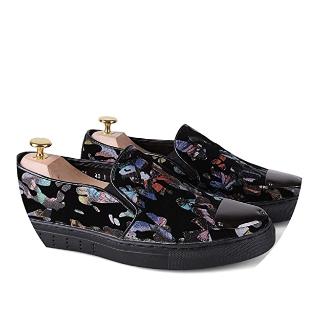 Amazon.com   Social Slip On Casual Shoes Print Iron Men Loafers Footwear   Loafers & Slip-Ons