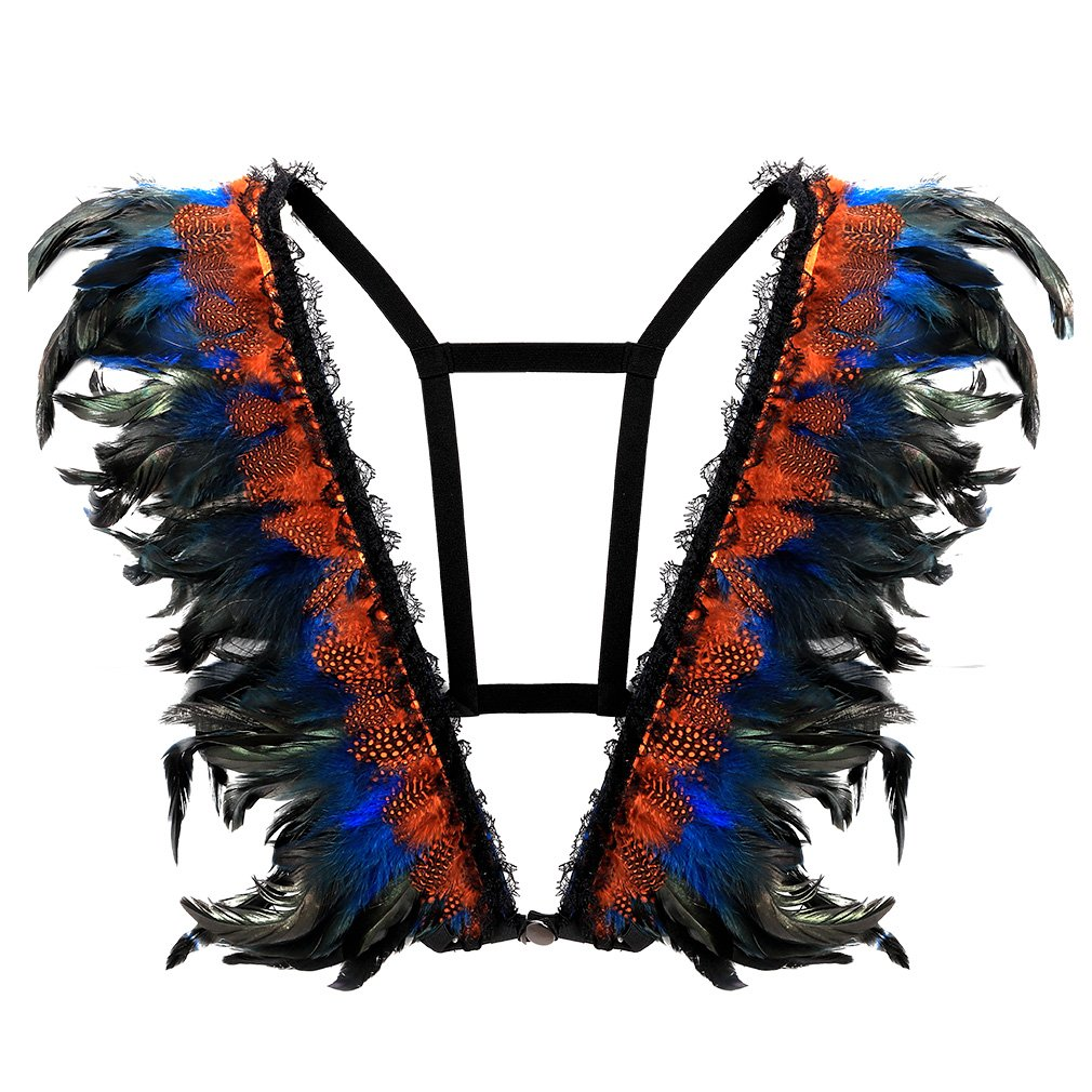 BANSSGOTH Feathers Harness Bra Top Epaulettes Shoulder Burning Man Festival Plus Size