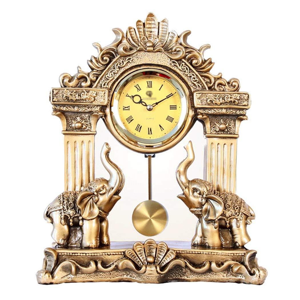 HONGNA European Mute Resin Clock Clock Lucky Town House Elephant Pendulum Clock Retro Quartz Table Clock Living Room Creative Desktop Decoration Clock (Color : B) by HONGNA (Image #1)