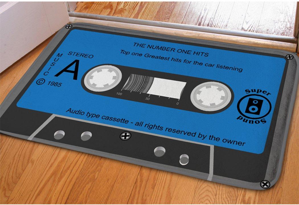Rectangle Cassette Tape Doormat For College Dorm Decor Blue Nonslip Soft Indoor Floor Entry Mat Absorbent Flannel Hallway Laundry Room Interior Small Area Rug Fadeless Bathroom Step Sliding Door Mat
