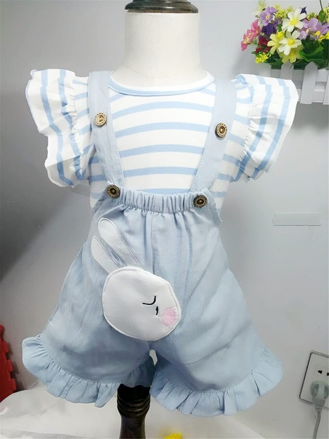 Newborn Cute Clothes Suit Easter Rabbit Printed Striped Summer Outfit Romper Aniwon Baby Top Romper Suit
