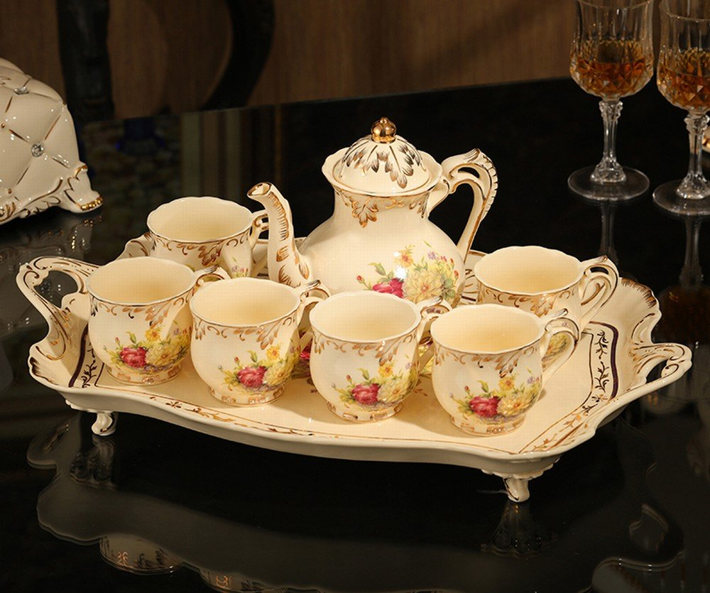 DHG European Coffee Set with Ceramic Tray Tea Set English Afternoon Tea Set Tea Set Coffee Cup Set,B by DHG