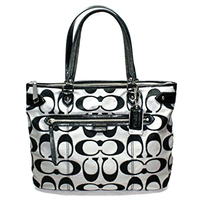 Amazon.com  Coach Daisy Outline Signature Tote Bag Moonlight (Black Silver)   23938  Shoes 84ae85ceea234