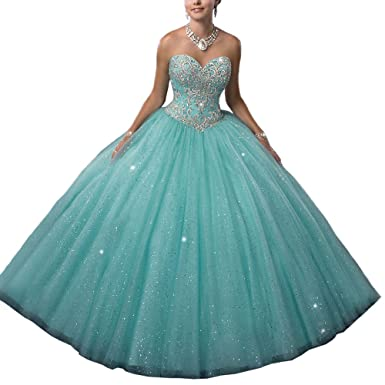 Women s Turquoise Green Beading Sweetheart Ball Gown Long Quinceanera Dress  US 2 Green b3181b3fc