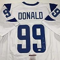 $134 » Autographed/Signed Aaron Donald Los Angeles LA White Retro Football Jersey PSA/DNA COA