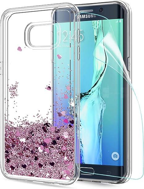 LeYi Compatible con Funda Samsung Galaxy S6 Edge Plus Silicona Purpurina Carcasa con HD Protectores de Pantalla,Transparente Cristal Bumper Telefono Fundas Case para Movil S6 Edge Plus ZX Oro Rosa: Amazon.es: Electrónica