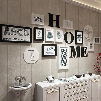 Amazon.de: ZYN Foto Wand Schwarz + Weiß + Holz Farbe Wohnzimmer 11 ...
